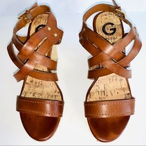 G By Guess Faux Leather Strap Wedges Sz 7 EUC